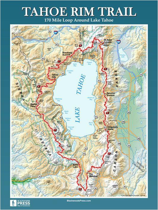 Map Of the California Trail Tahoe Rim Trail Hiking Pinterest