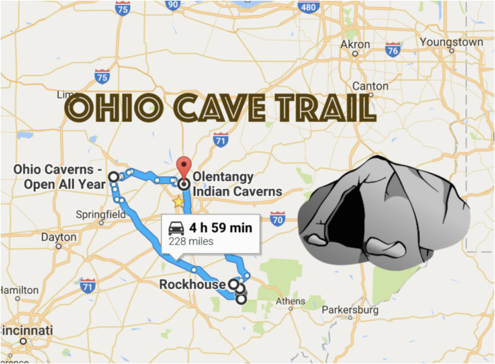this map shows the shortest route to 7 of ohio s most incredible