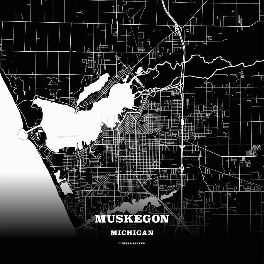 Maps Login Michigan Black Map Poster Template Of Muskegon ...