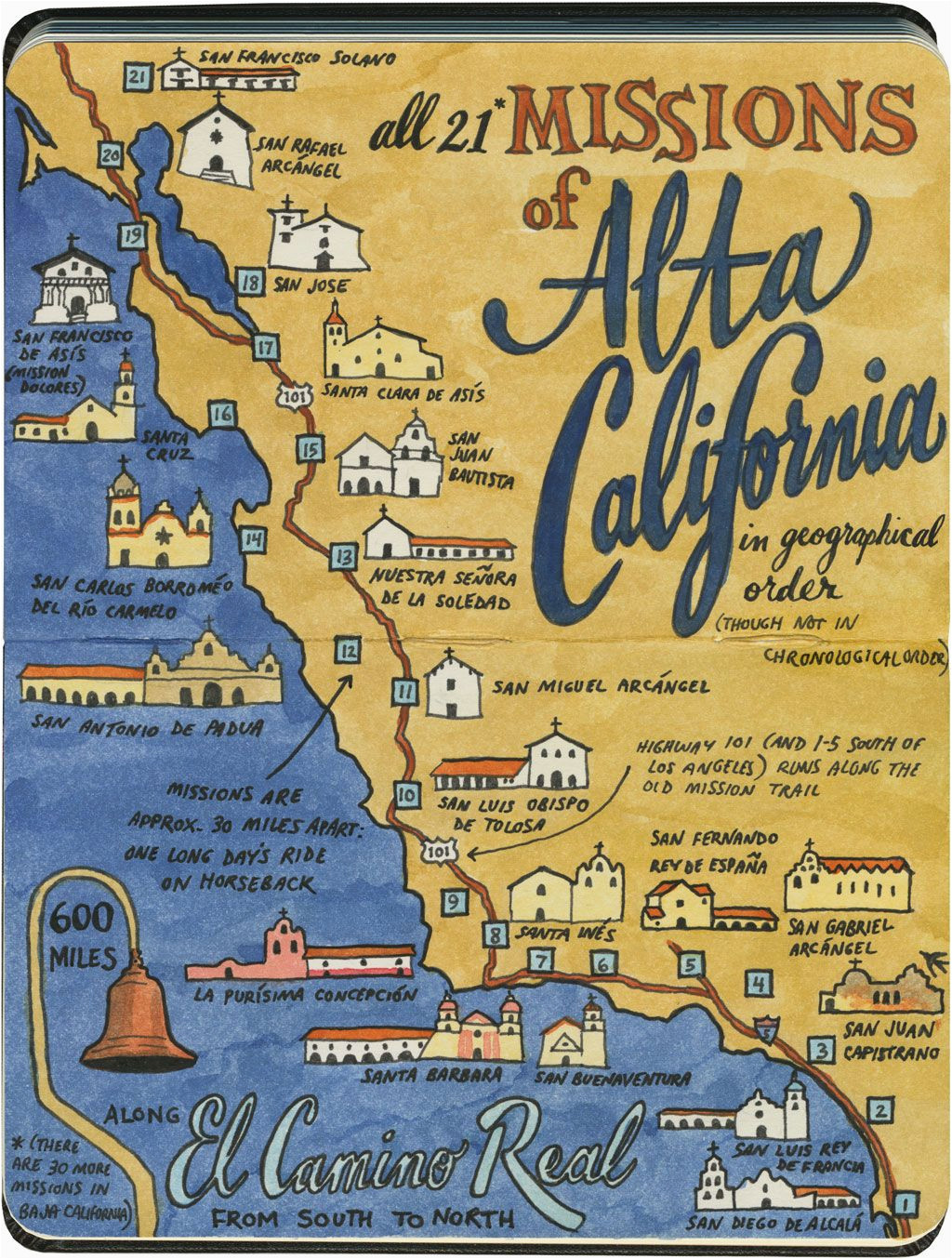 Maps Of California Missions Earlier This Year I Visited All 21 California Missions and Created