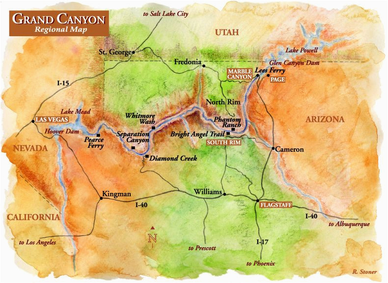 map of sites near grand canyon grand canyon regional map grand