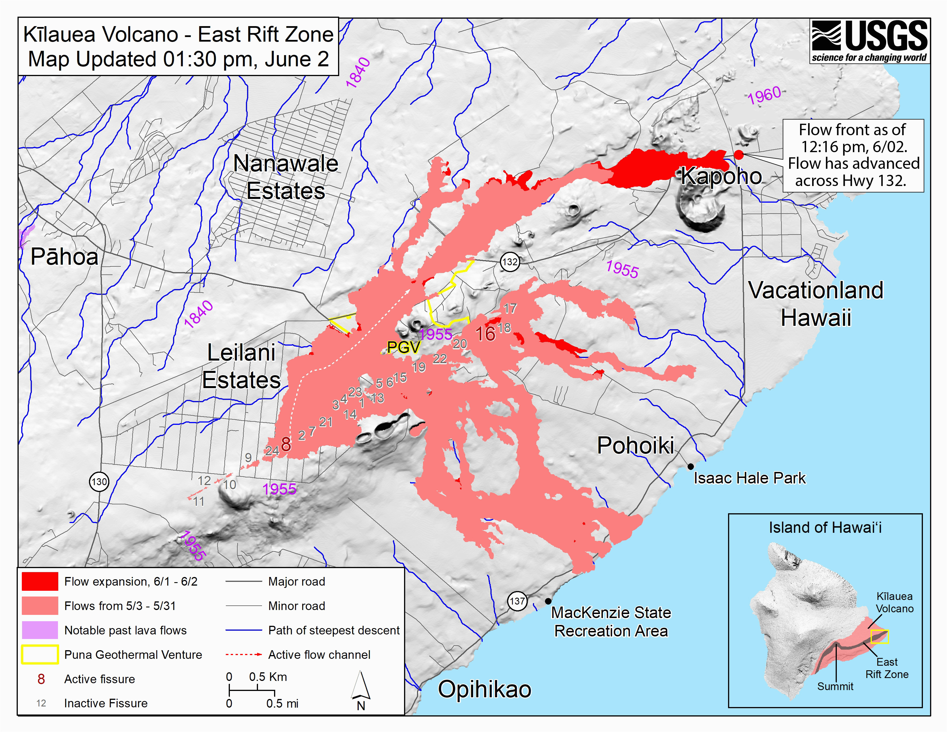 new map released shows where lava crossed hwy 132 big island now