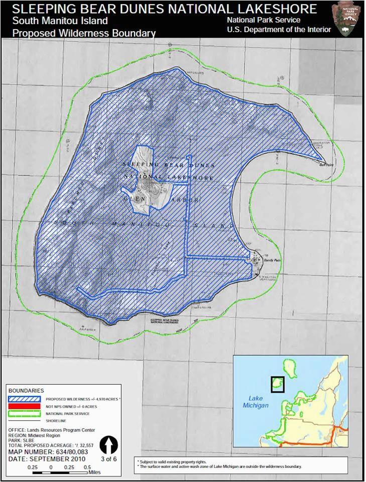 sleeping bear dunes wilderness boundary on south manitou island