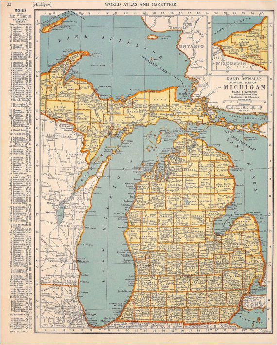 1939 michigan vintage atlas map by oddlyends on etsy map love