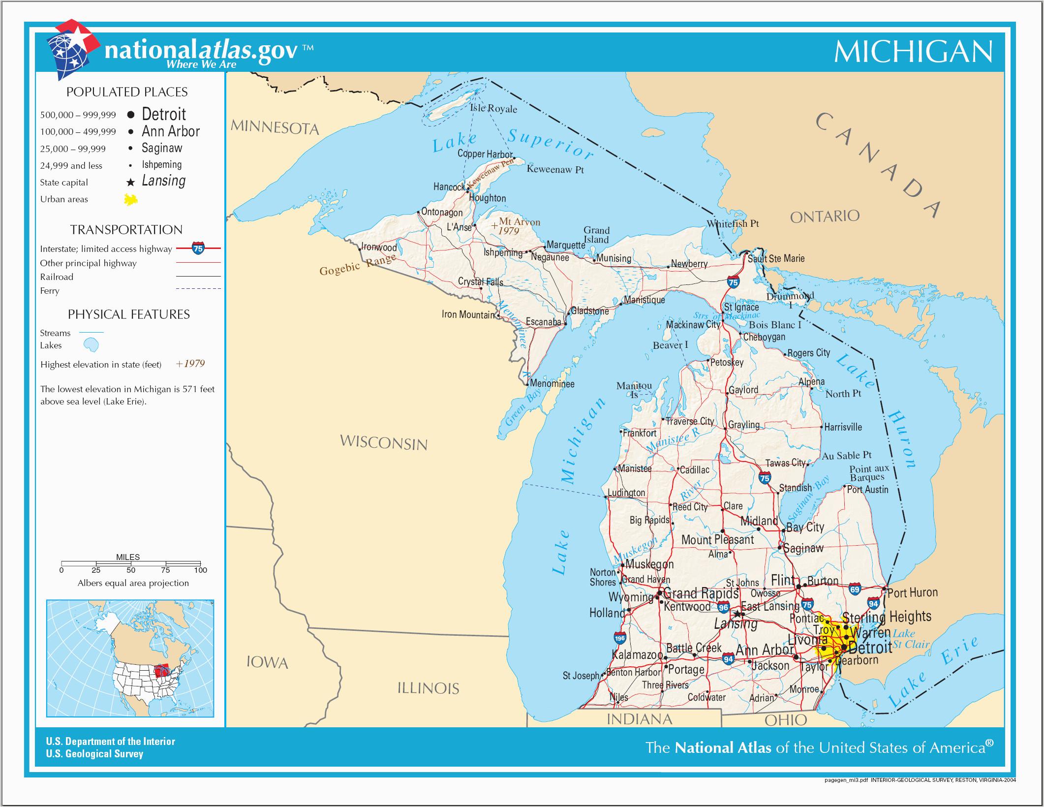 Michigan On Map Of Usa File Map Of Michigan Na Png Wikimedia Commons