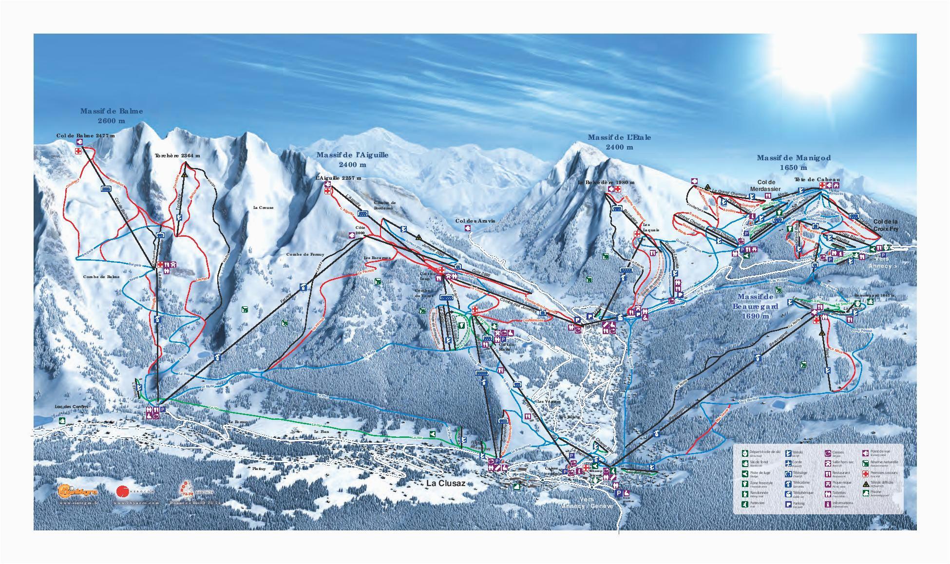 la clusaz piste map trail map