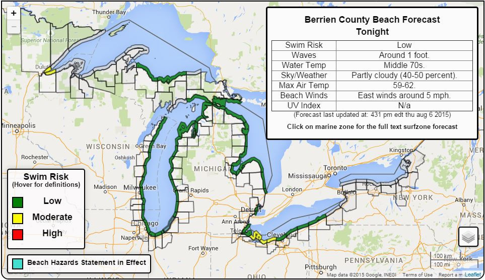 great lakes beach hazards page