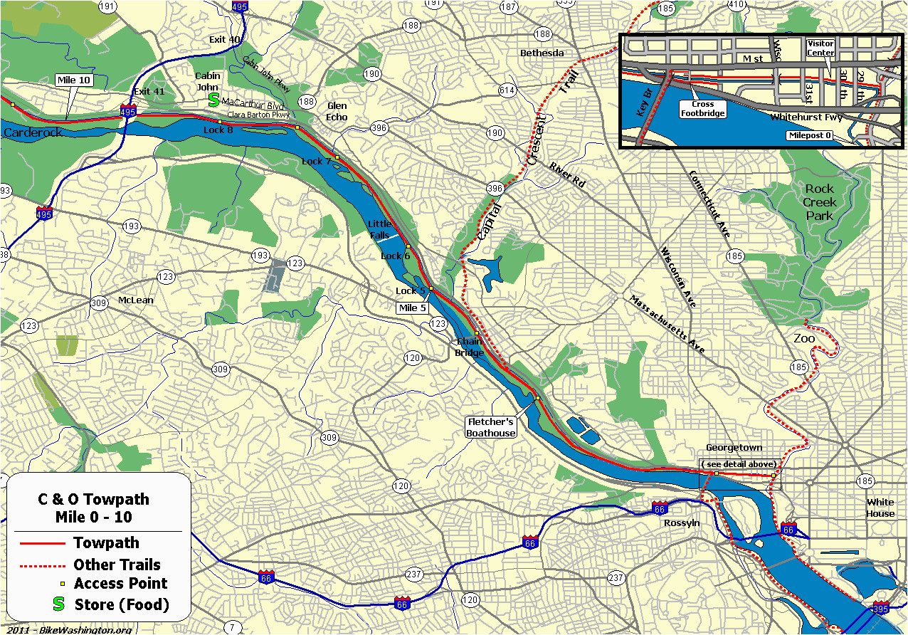 the c o canal bicycling guide mile 0 thru 10