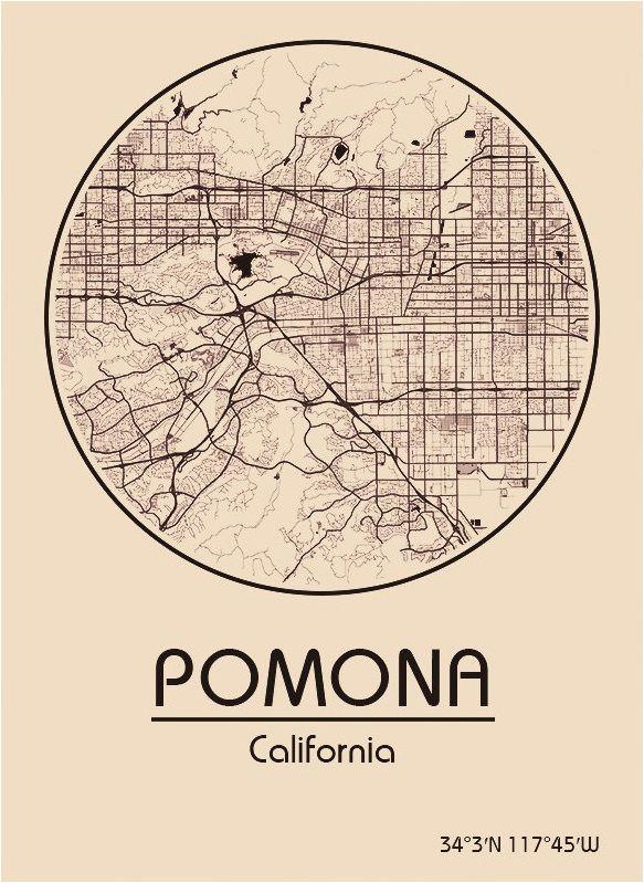 karte map pomona kalifornien california vereinigte staaten