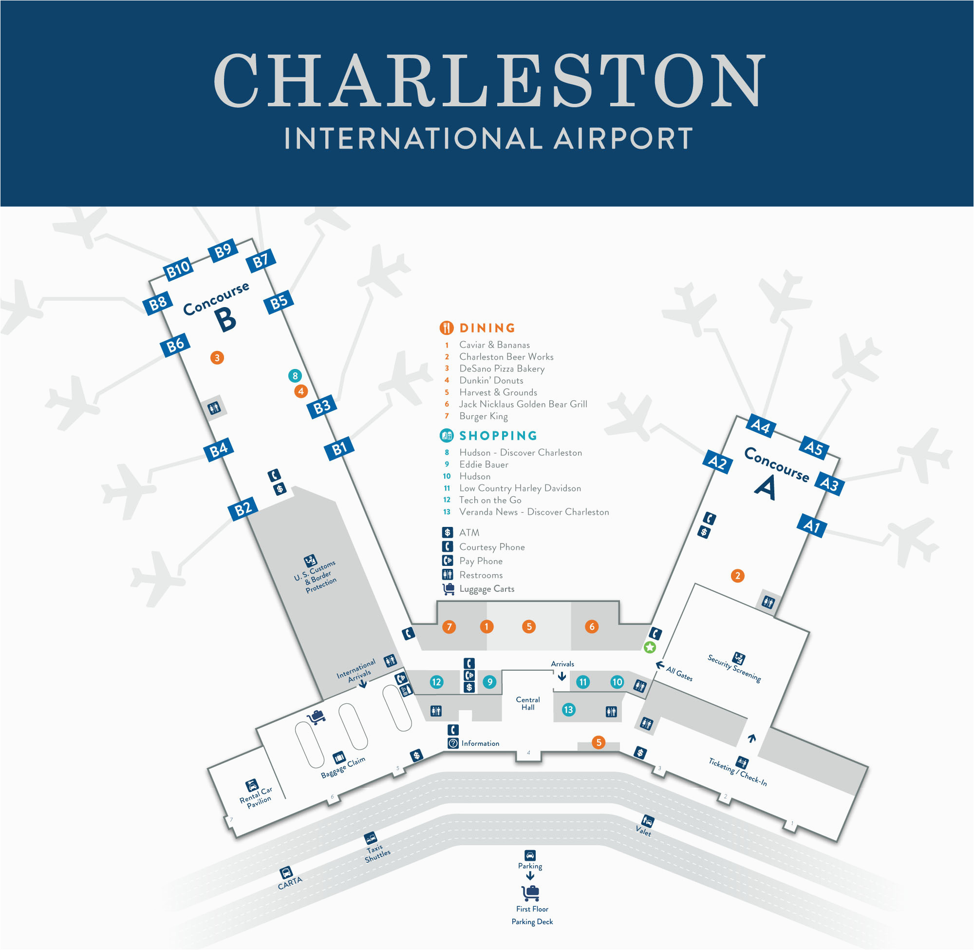 charleston international airport terminal map