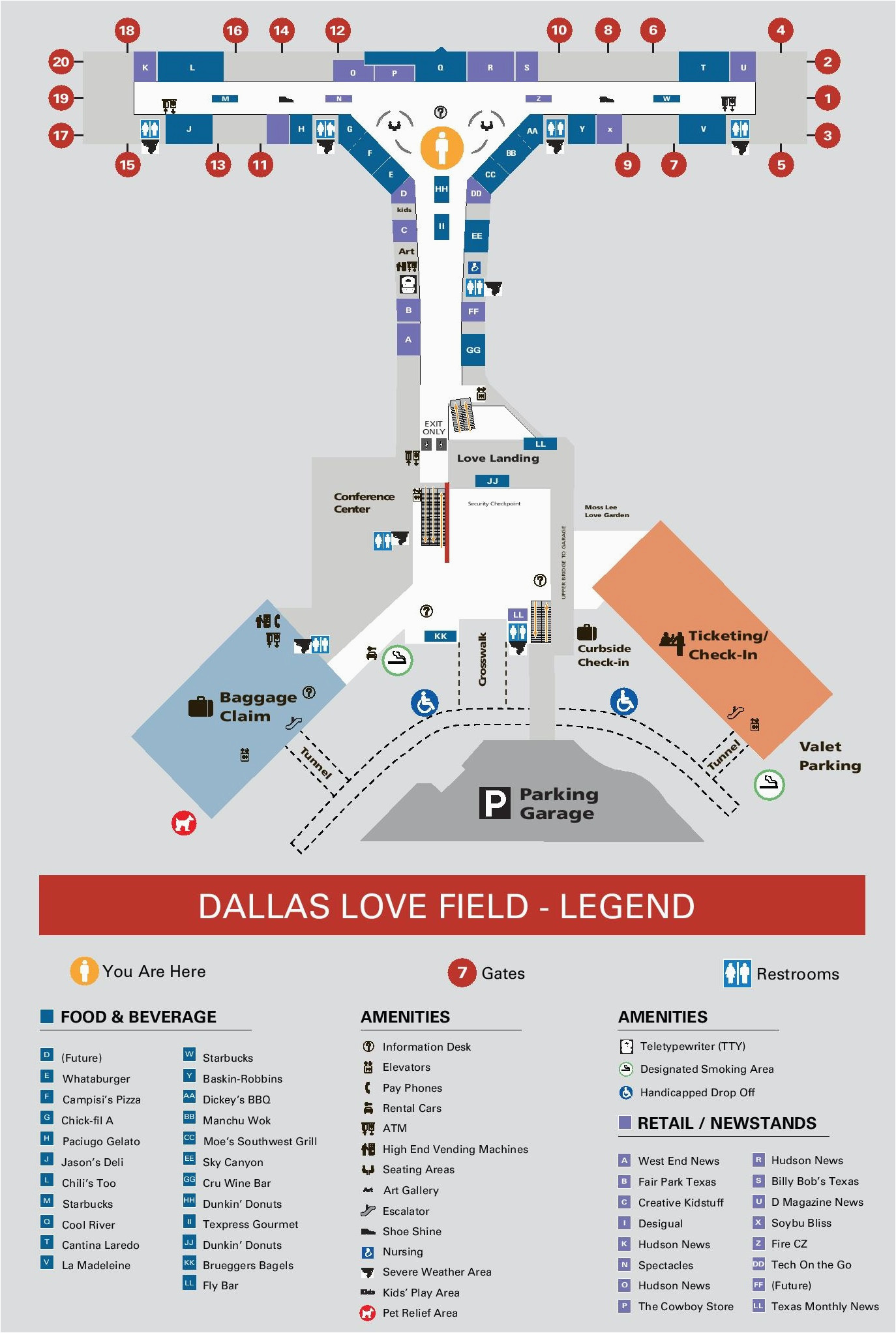dallas love field airport map