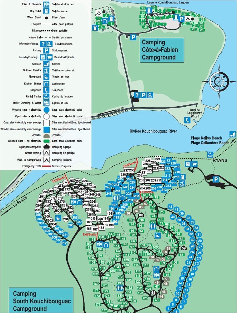 map of kouchibouguac national park s campgrounds campground maps