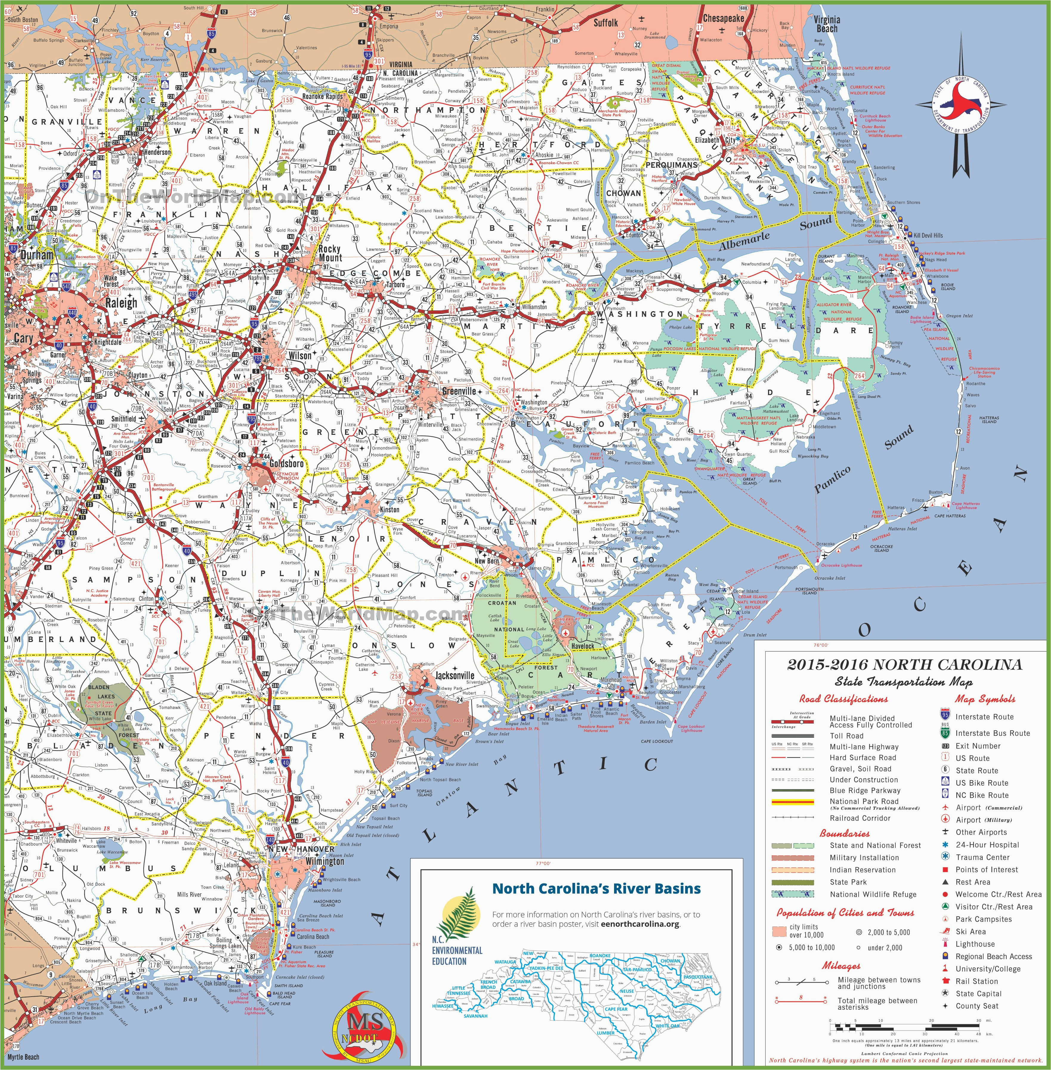 State Map Of North Carolina With Cities.North Carolina Coastal Map With Cities Secretmuseum