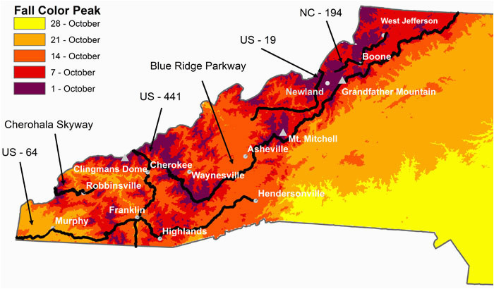 where when to see peak fall foliage for nc