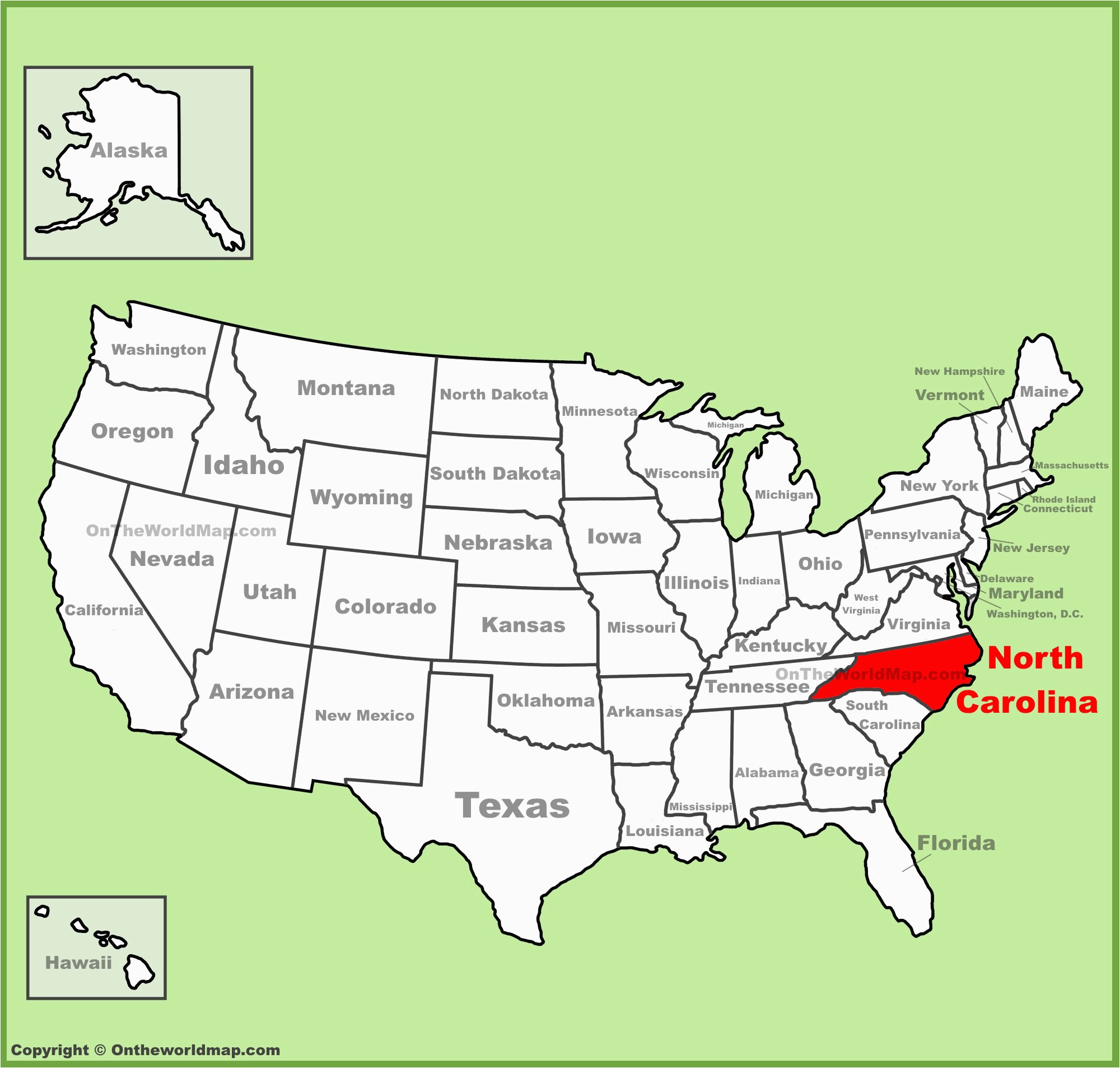 North Of Usa Map.North Carolina In Usa Map Secretmuseum