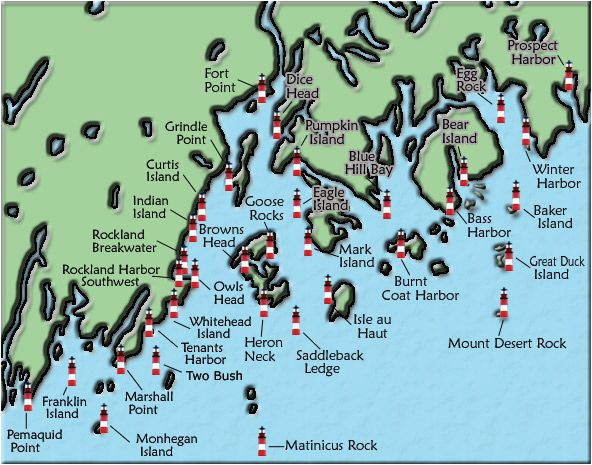 acadia and penobscot bay maine lighthouse map the lighthouse on