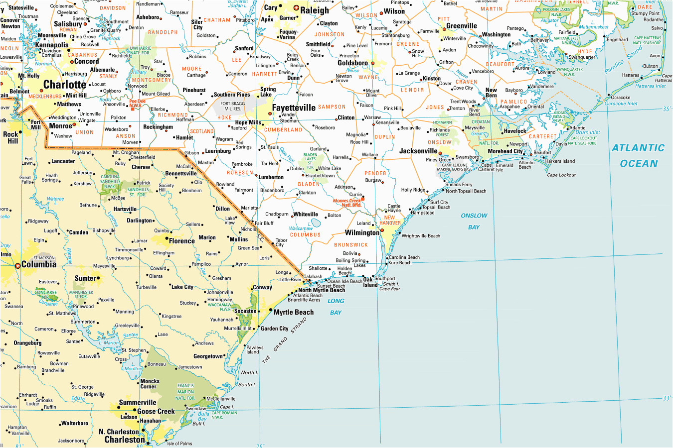north carolina east coast map bnhspine com