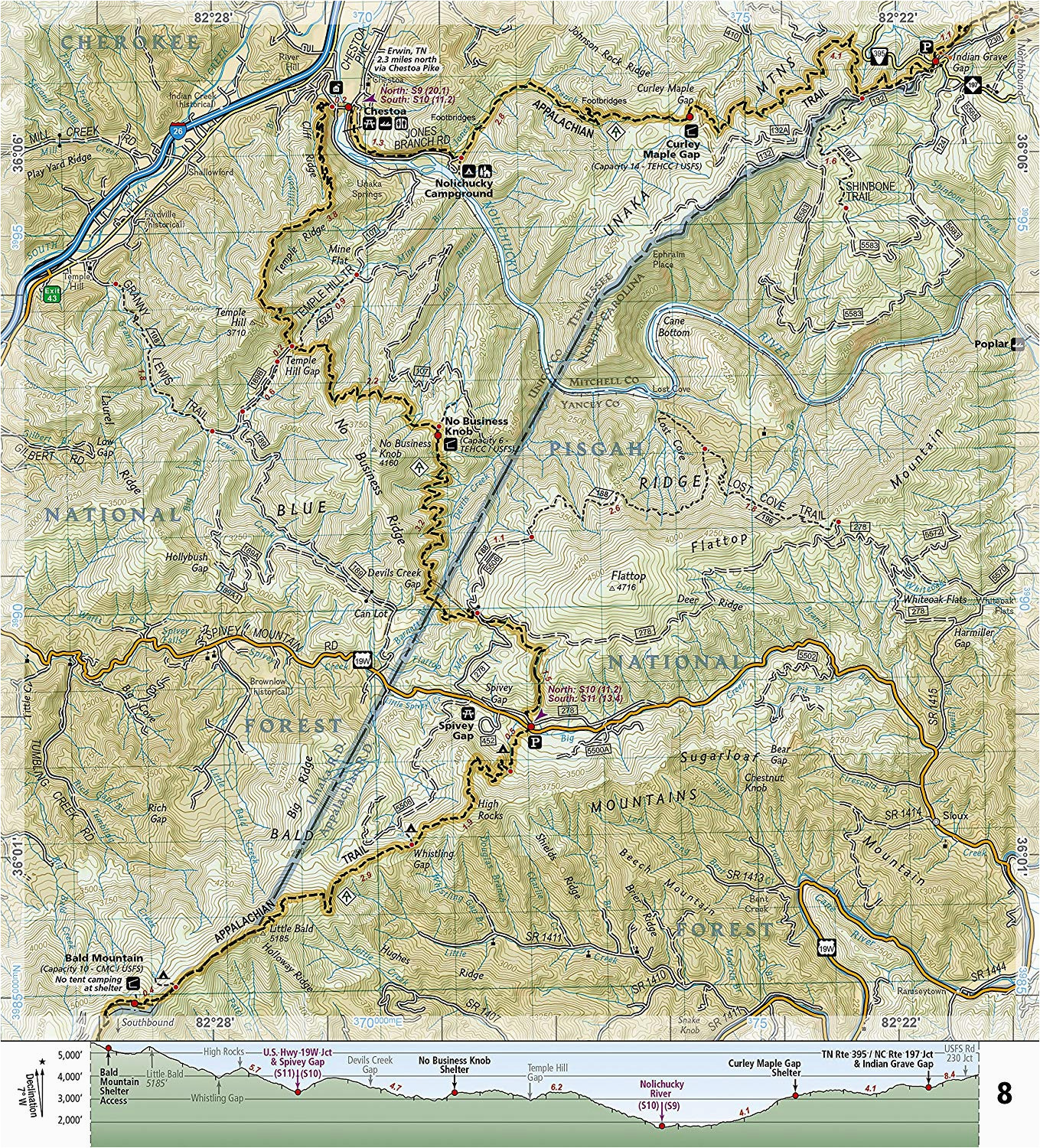 appalachian trail north carolina map unique amazon appalachian trail