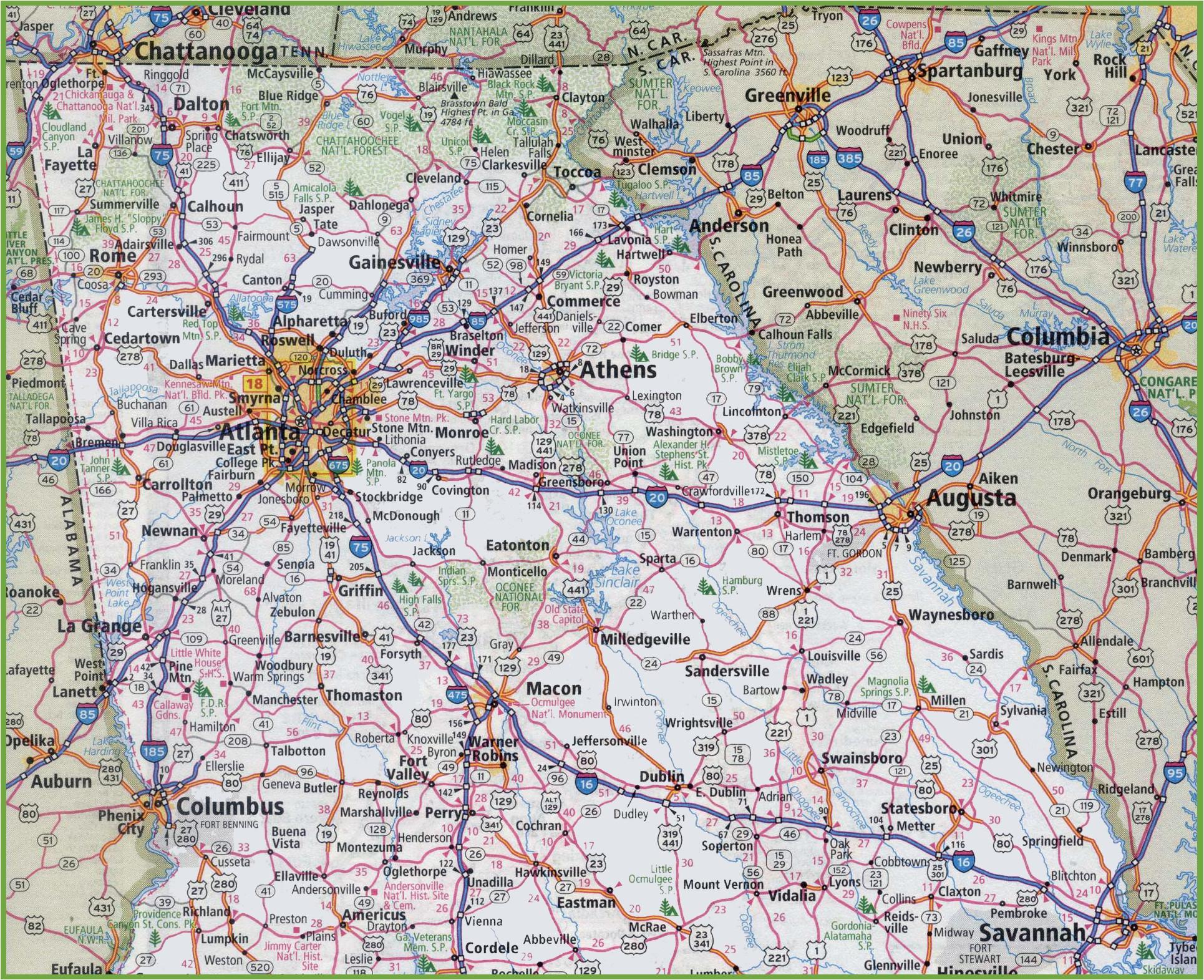 North Georgia Road Map Georgia State Maps Usa Maps Of Georgia Ga ...