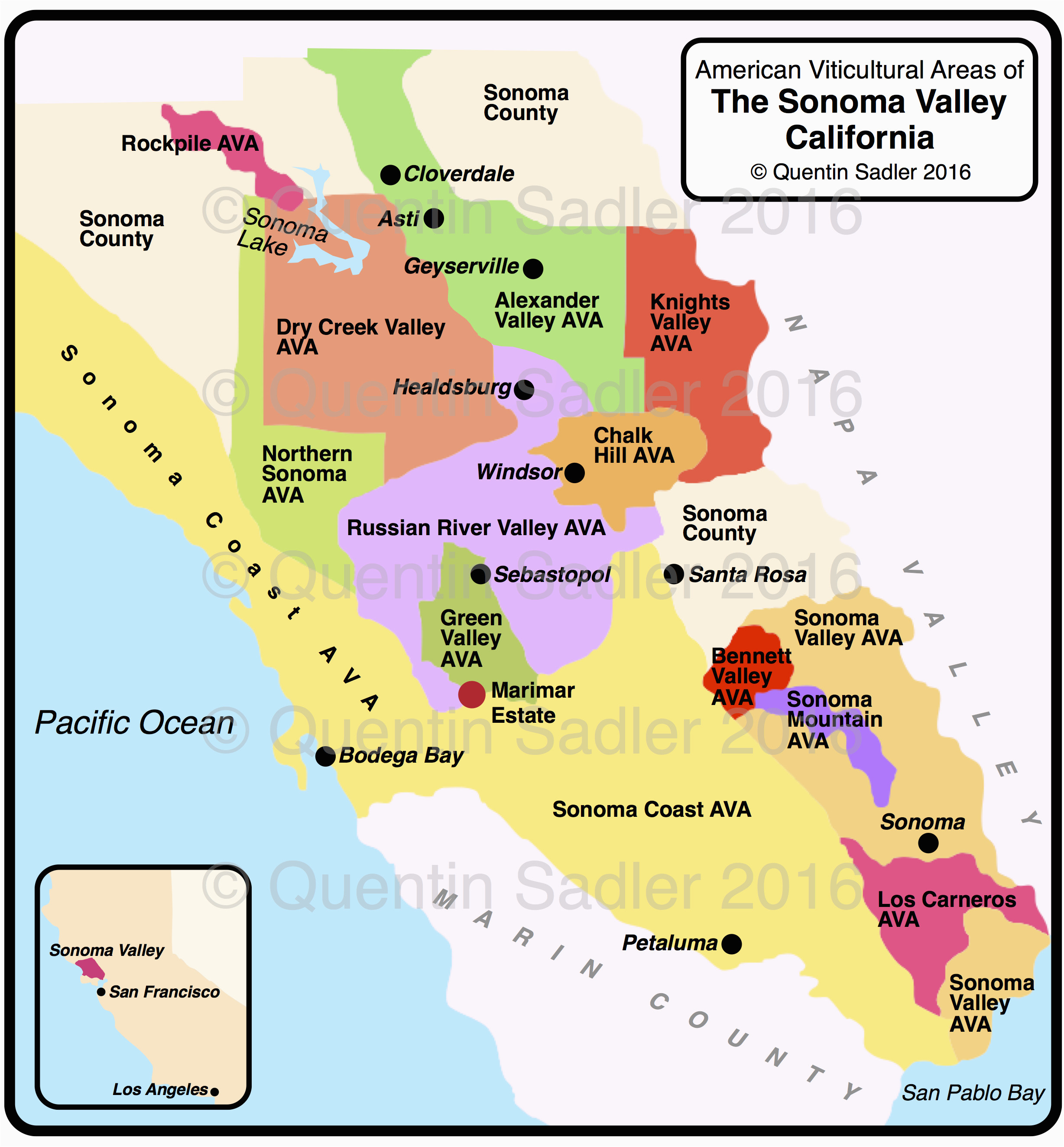 Northern California Wine Country Map sonoma Valley Quentin Sadler S on