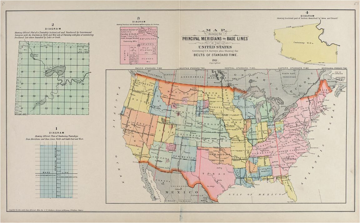 map showing the principal meridians and base lines of the united
