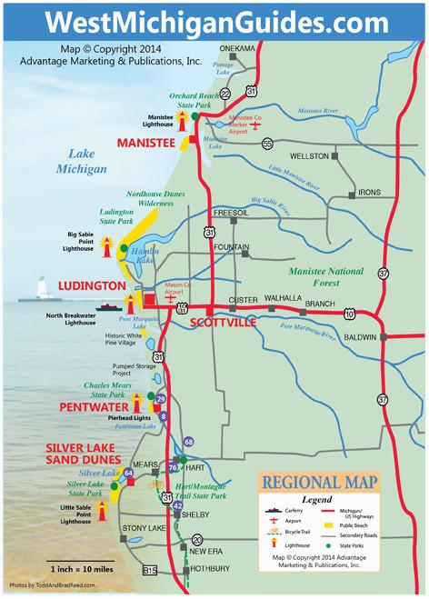 Pine Lake Michigan Map West Michigan Guides West Michigan Map Lakeshore Region Ludington