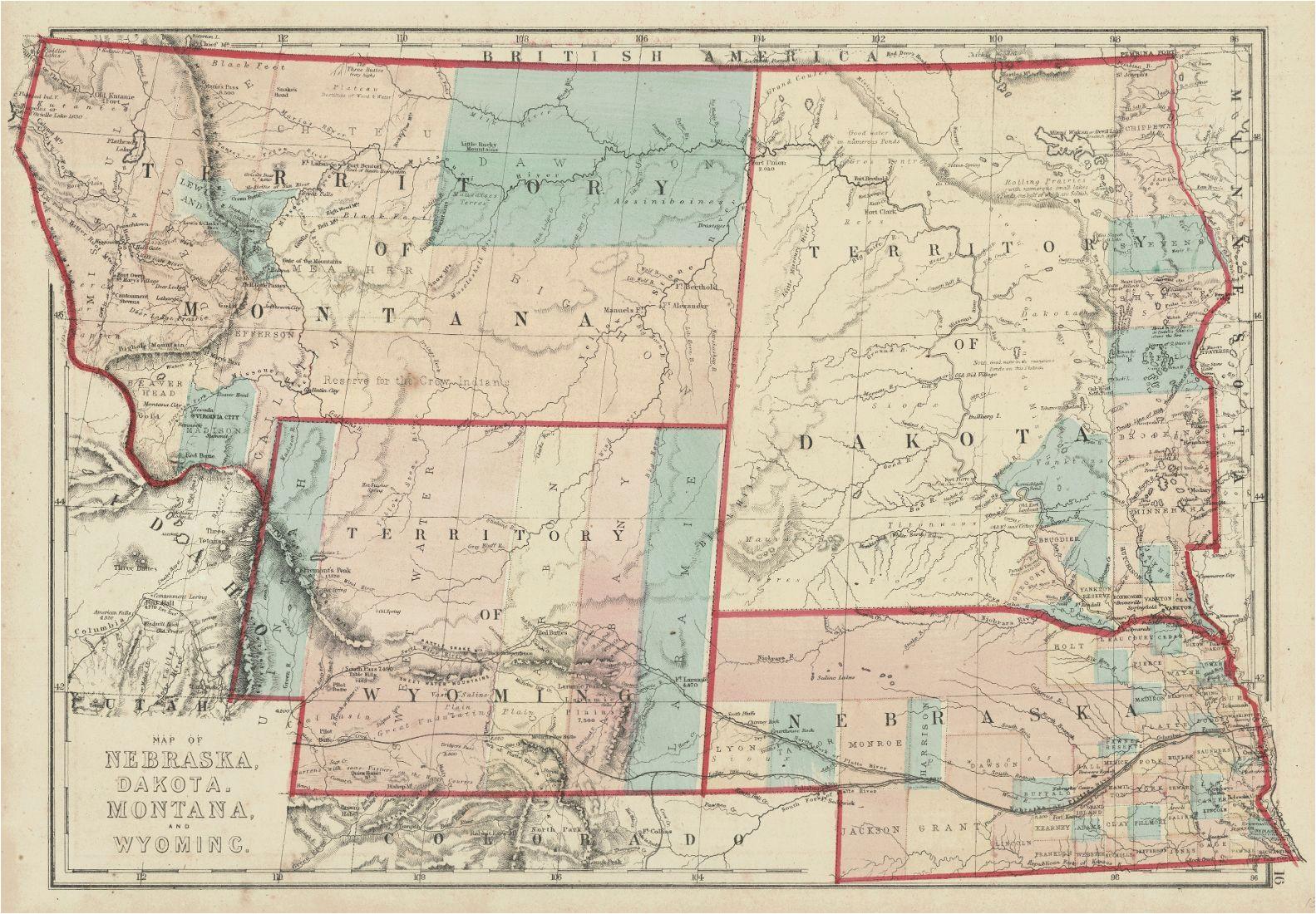 map of nebraska dakota montana and wyoming h h hardesty co
