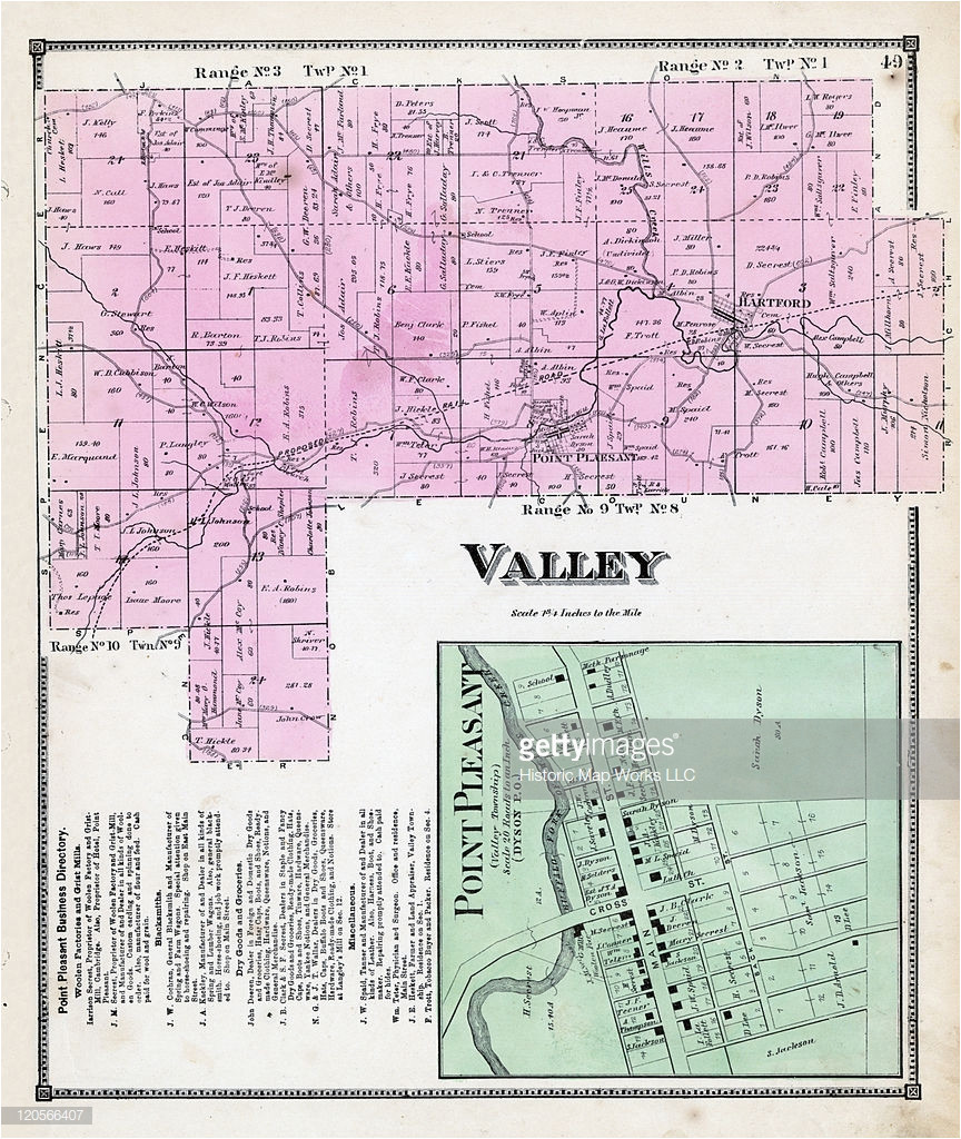 ohio 1870 valley township point pleasant hartford guernsey county