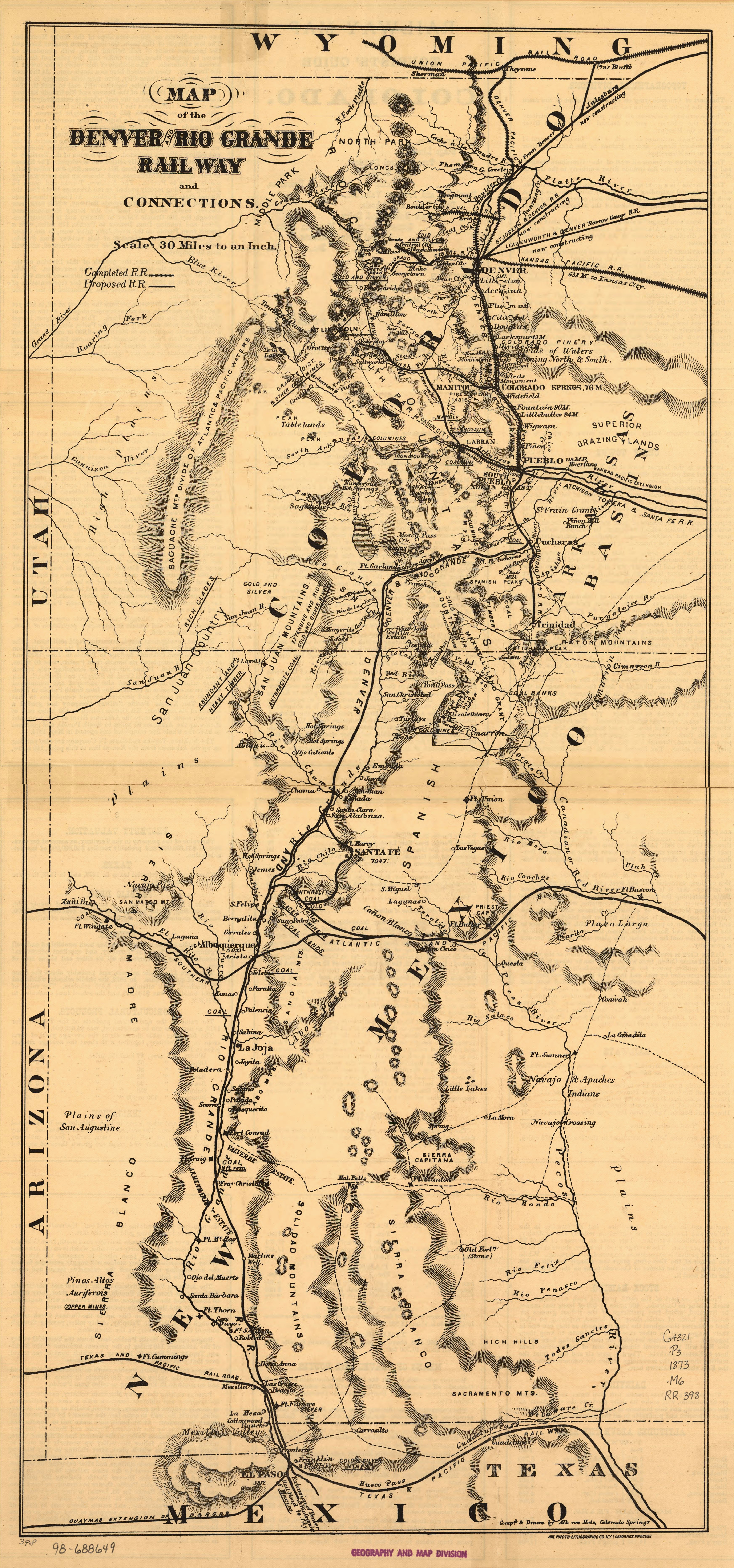 file map of the denver and rio grande railway and connections loc