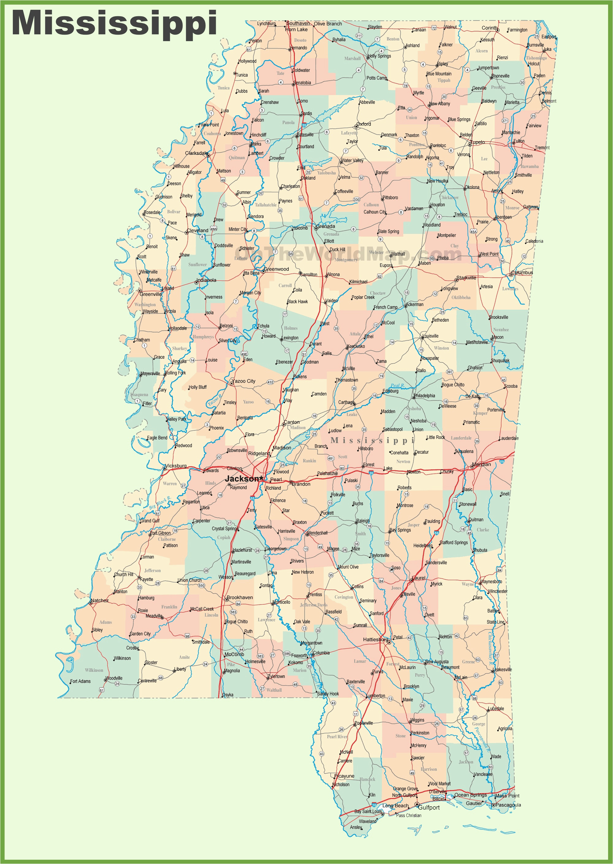 mississippi state maps usa maps of mississippi ms