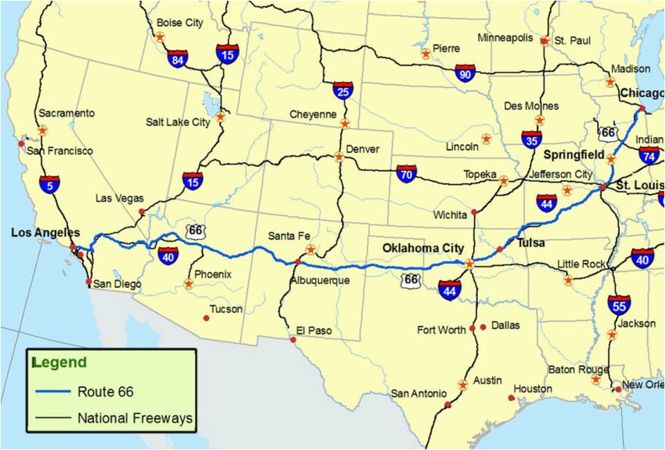 Road Map Of Arizona and California Maps Of Route 66 Plan ...
