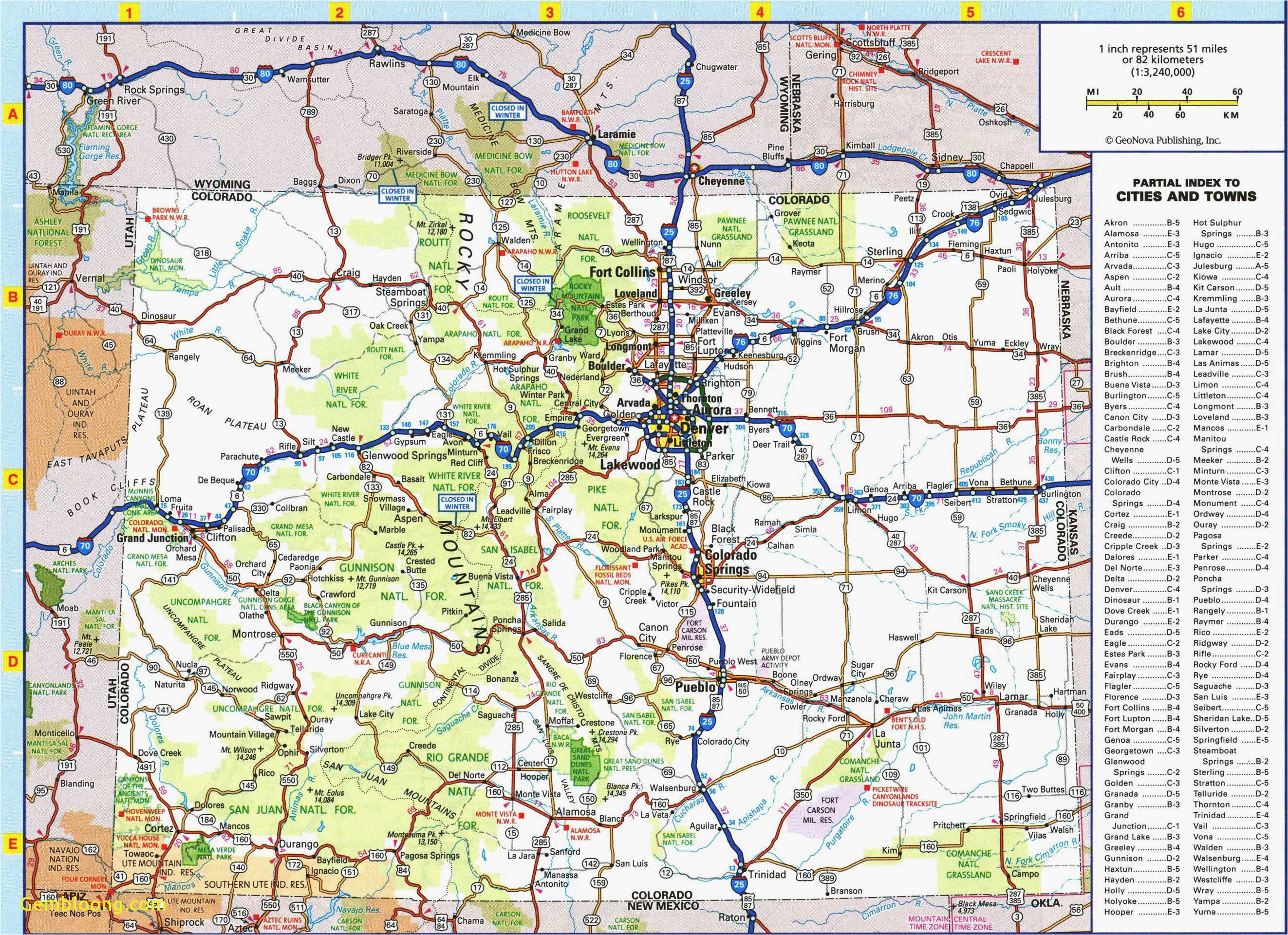 Road Map Of Wyoming and Colorado United States Map Denver ...