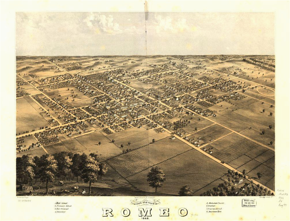 8 x 12 reproduced photo of vintage old perspective birds eye view