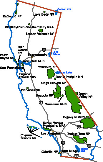 California National Parks Map on
