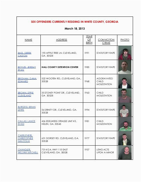 sex offender list white county georgia