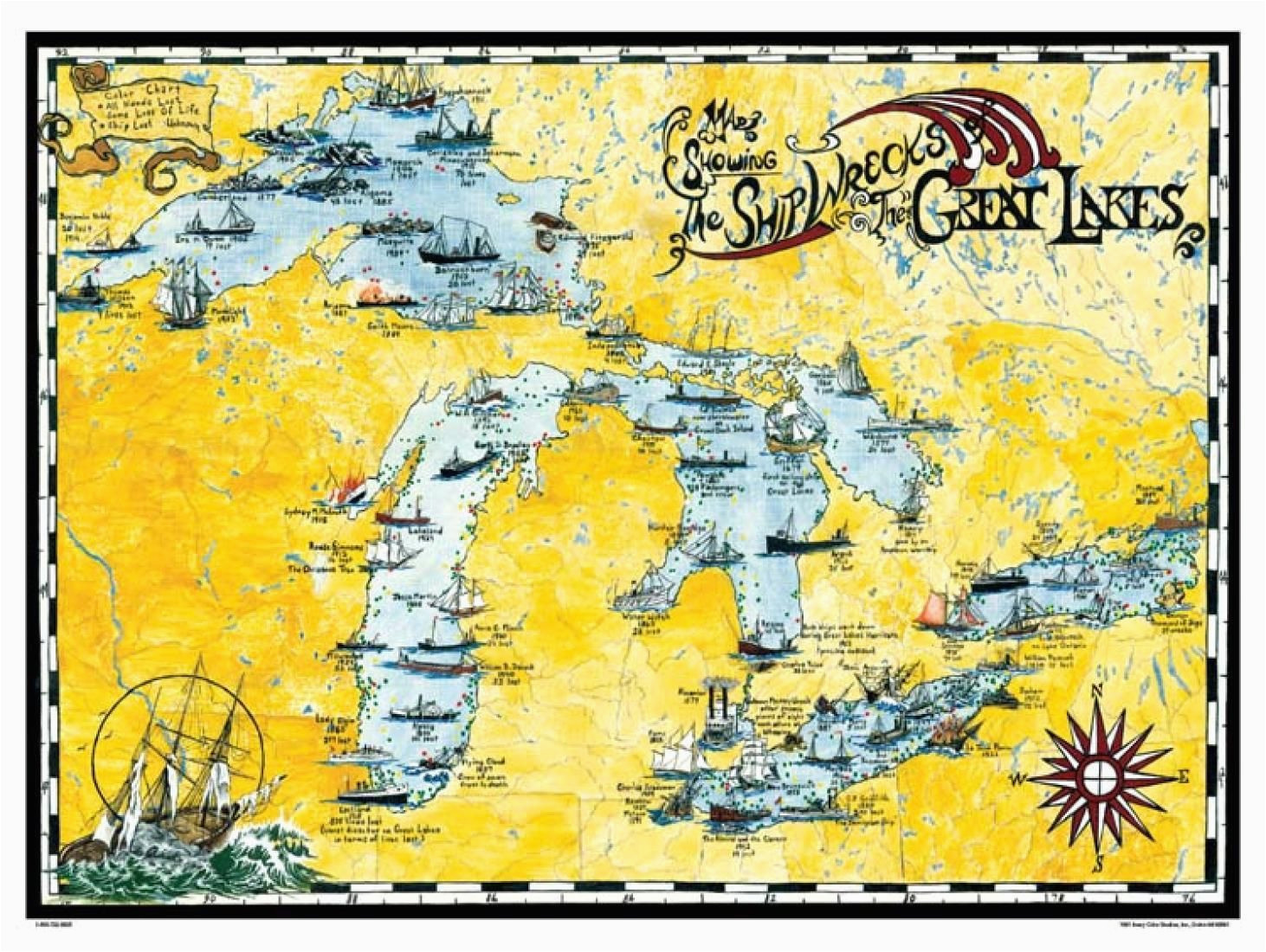 great lakes shipwreck map by avery color studios michigan great