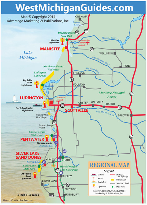 Silver Lake Michigan Map West Michigan Guides West Michigan Map Lakeshore Region Ludington