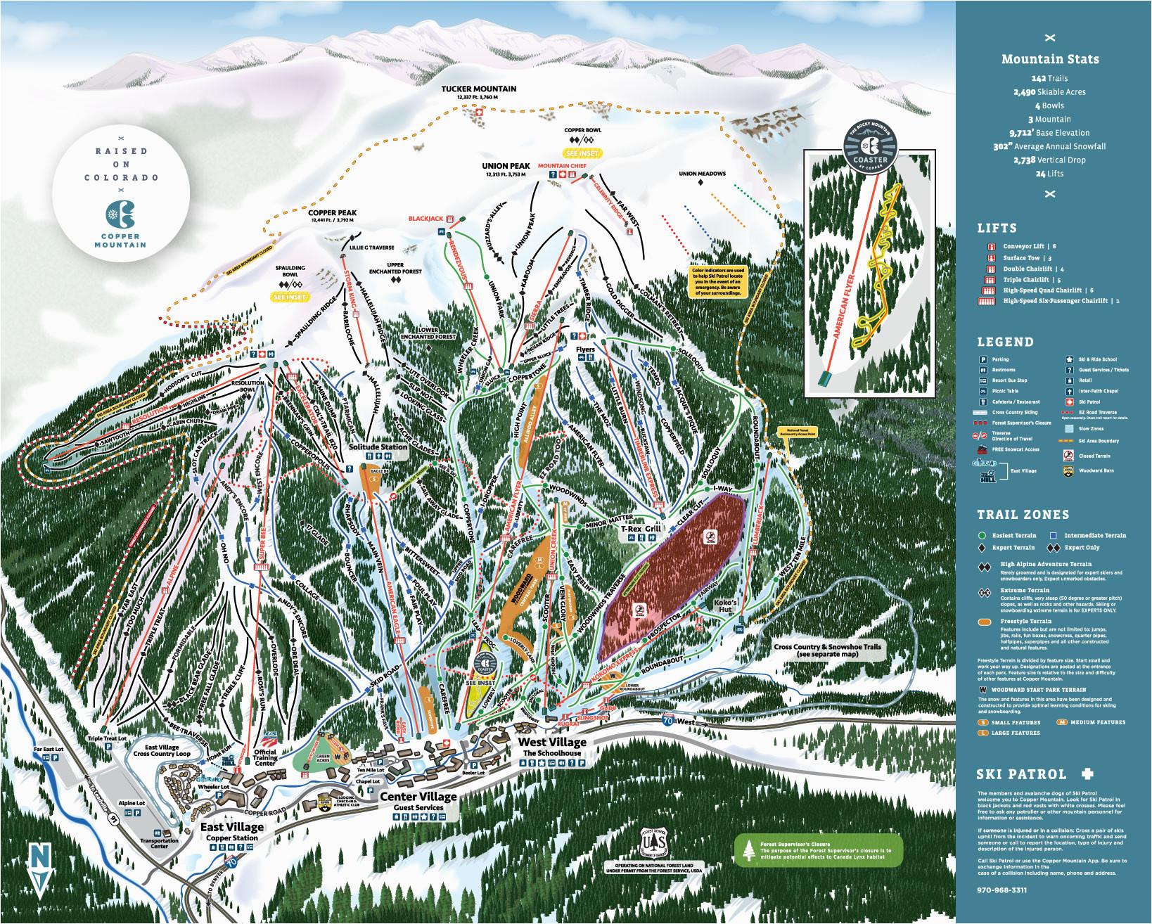 copper winter trail map