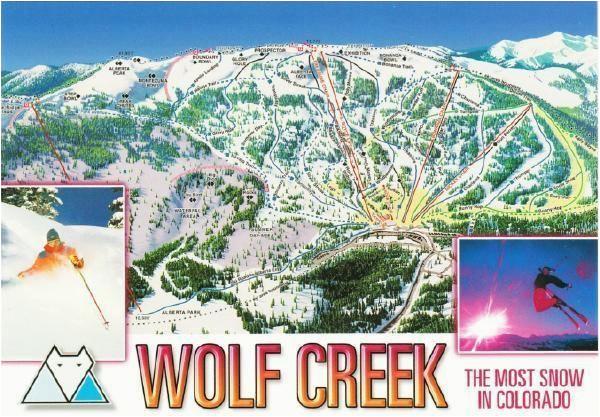 wolf creek ski resort colorado trail map postcard ski towns