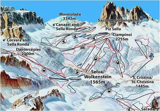 ski map val gardena skiing bella italia italia