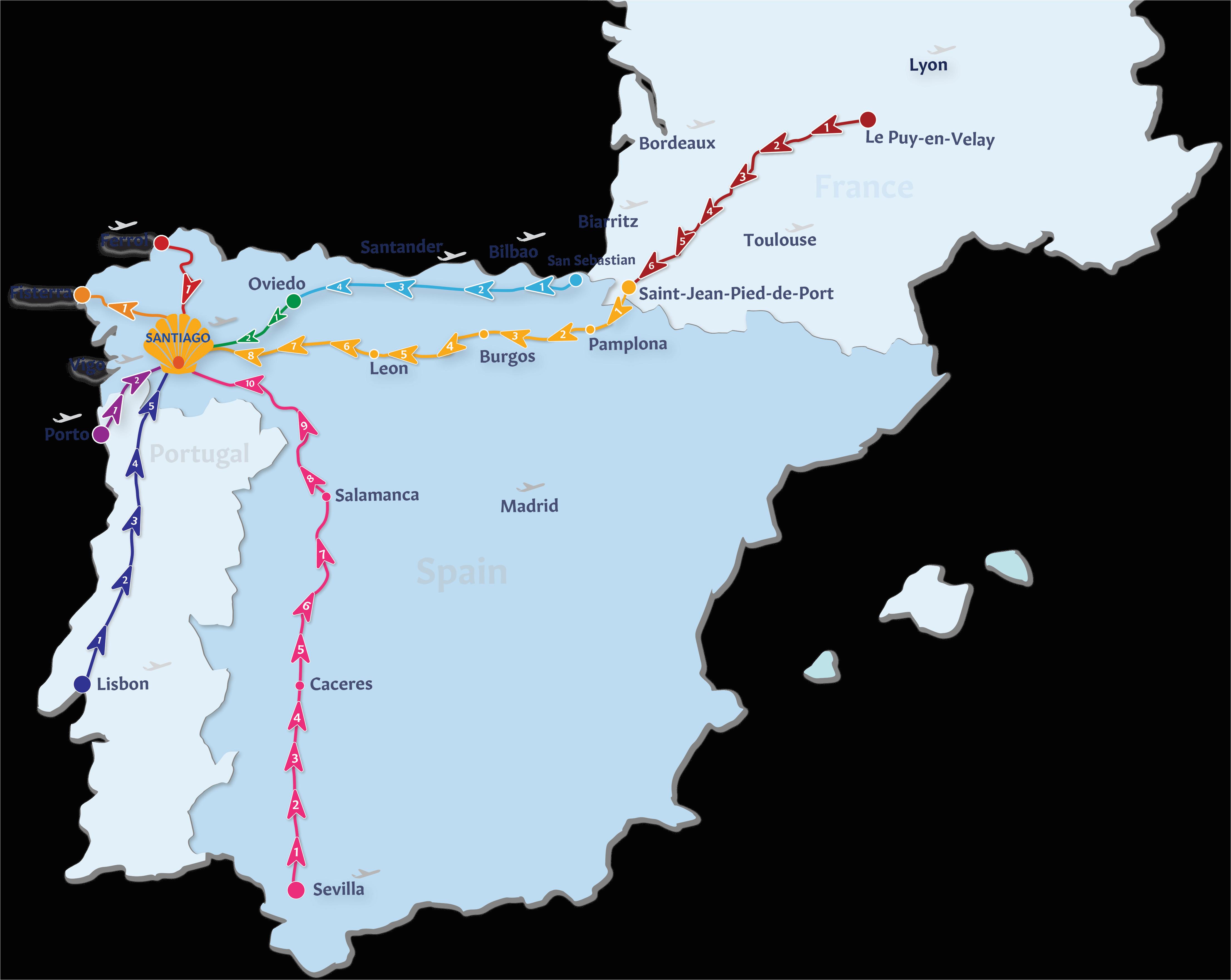 Southwest Michigan Wine Trail Map Camino De Santiago Routes ... on
