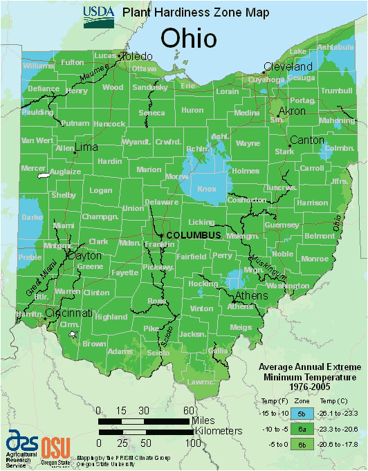 Southwest Ohio Map Map Of Usda Hardiness Zones for Ohio