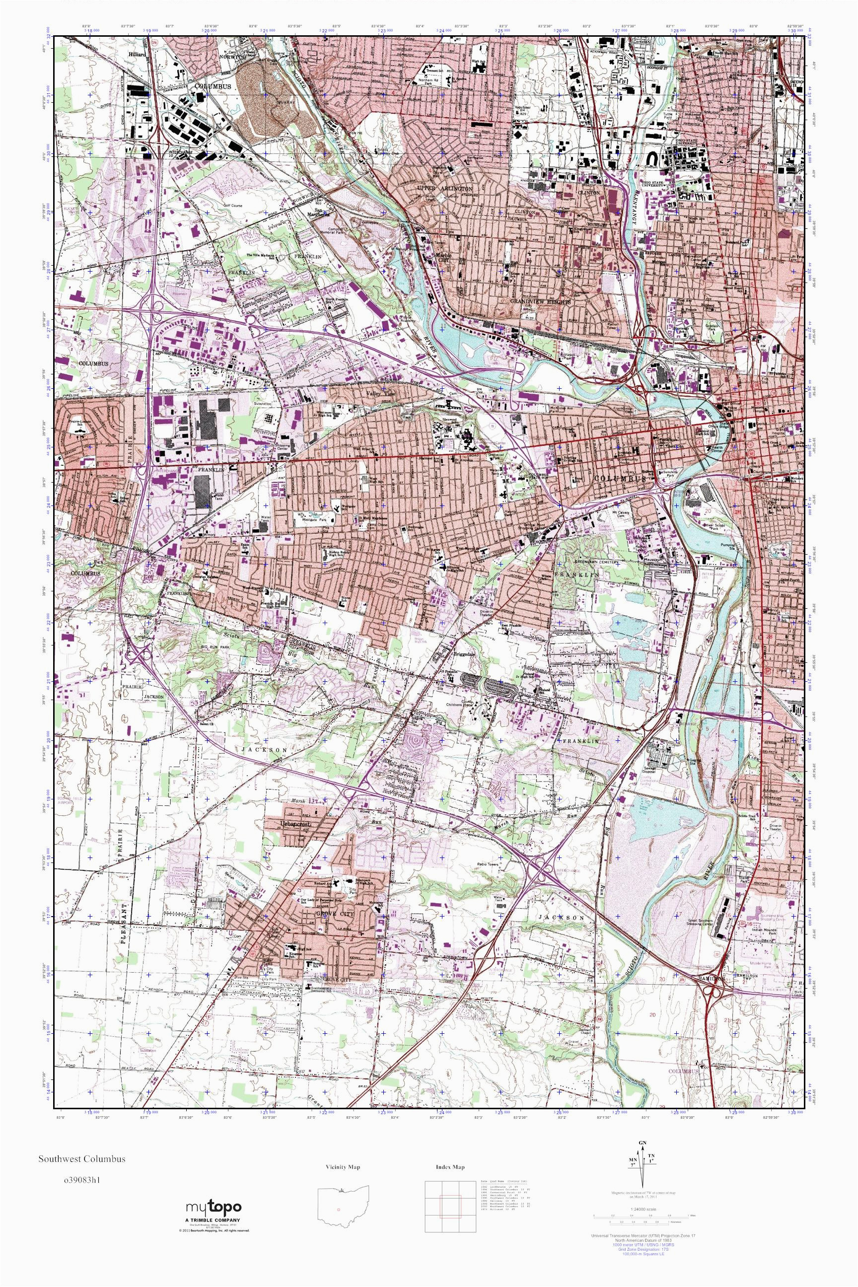 mytopo southwest columbus ohio usgs quad topo map