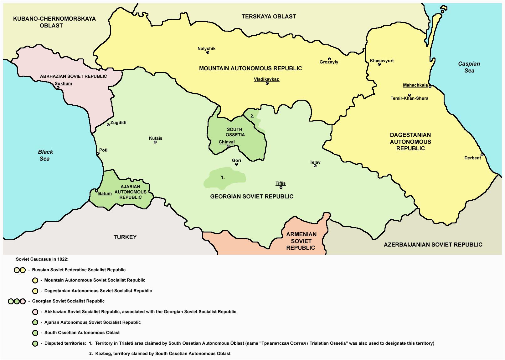northern part of soviet caucasus in 1922 mountain autonomous