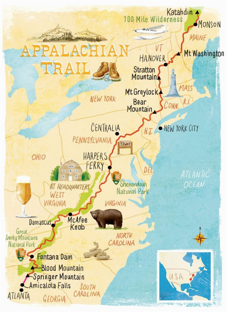 appalachian trail georgia map elegant us map appalachian mountains