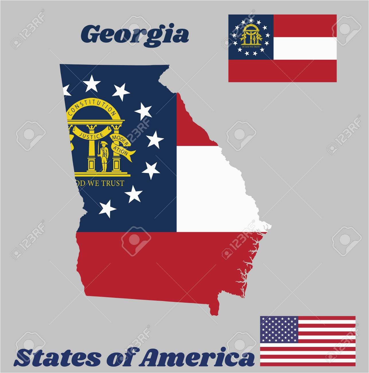 map outline and flag of georgia three stripes consisting of red