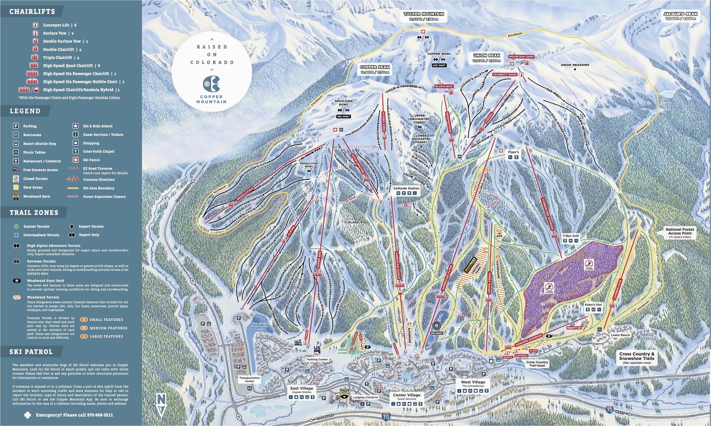 Steamboat Colorado Trail Map Copper Mountain Resort Trail ...