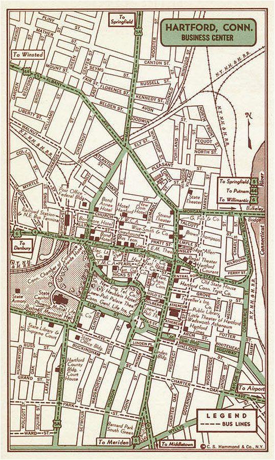 hartford print hartford street map hartford vintage map hartford