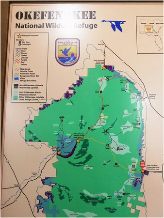 map of area picture of okefenokee national wildlife refuge