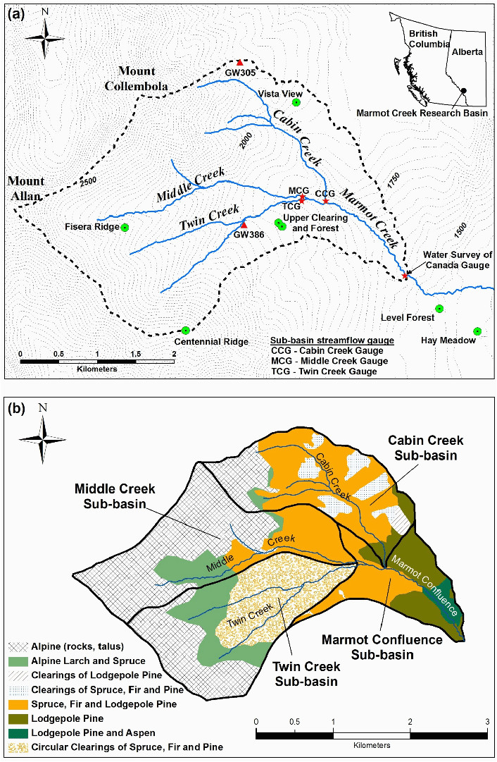 a contour map m of the marmot creek research basin mcrb showing